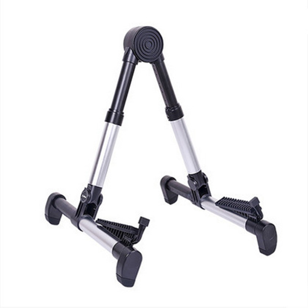 Portable Aluminum Floor Guitar Stand Adjustable Foldable Stand for All Types of Guitars, Basses, Ukuleles and Violins, Banjo Silver_FP10S