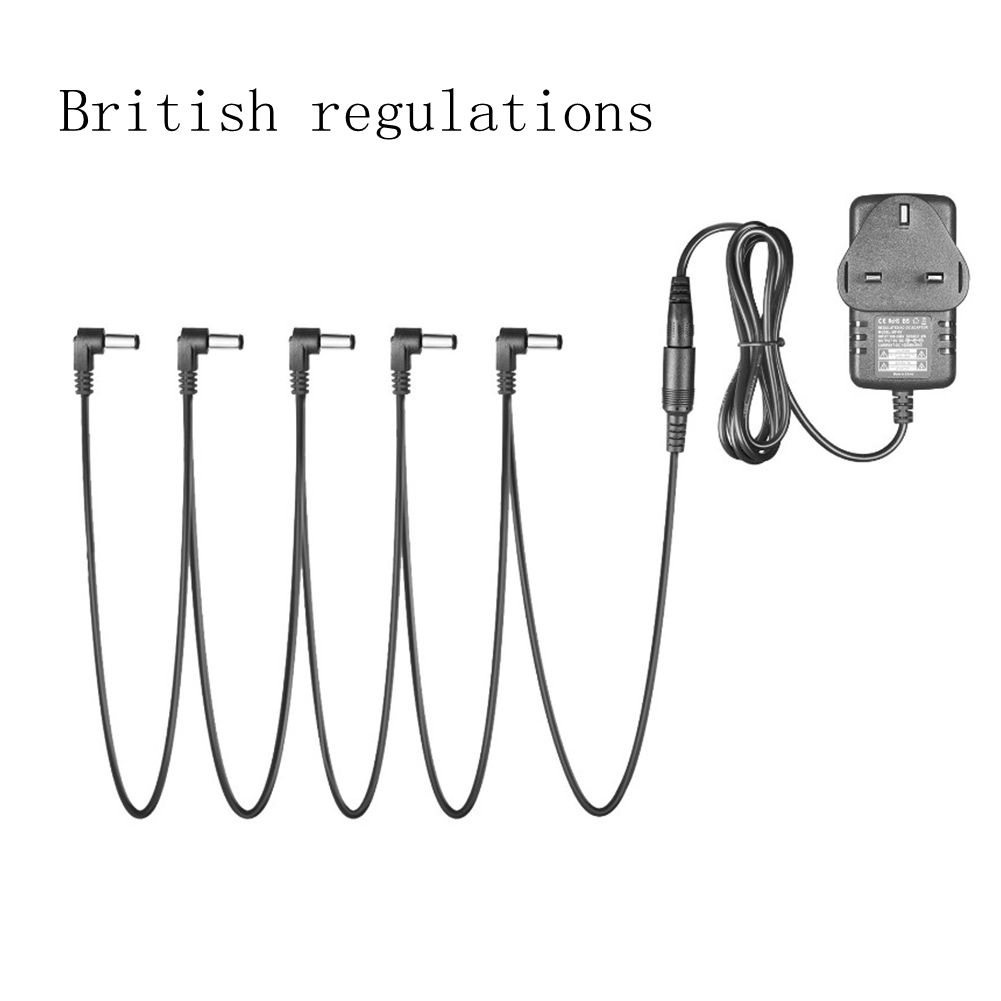 Pedal Power Adapter Supply 9V DC 1A for Guitar Effect Pedal with Cable 5 Way Chain Cord British regulations