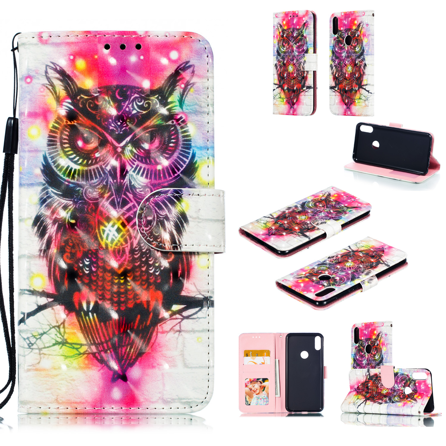 For ASUS ZENFONE MAX Pro M1/ZB601KL/ZB602KL 3D Coloured Painted PU Magnetic Clasp Phone Case with Card Slots Bracket Lanyard owl