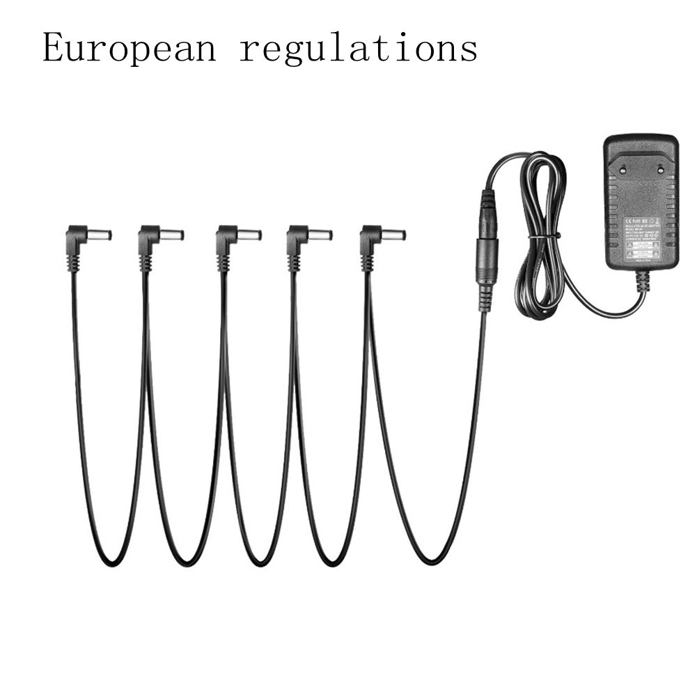 Pedal Power Adapter Supply 9V DC 1A for Guitar Effect Pedal with Cable 5 Way Chain Cord European regulations