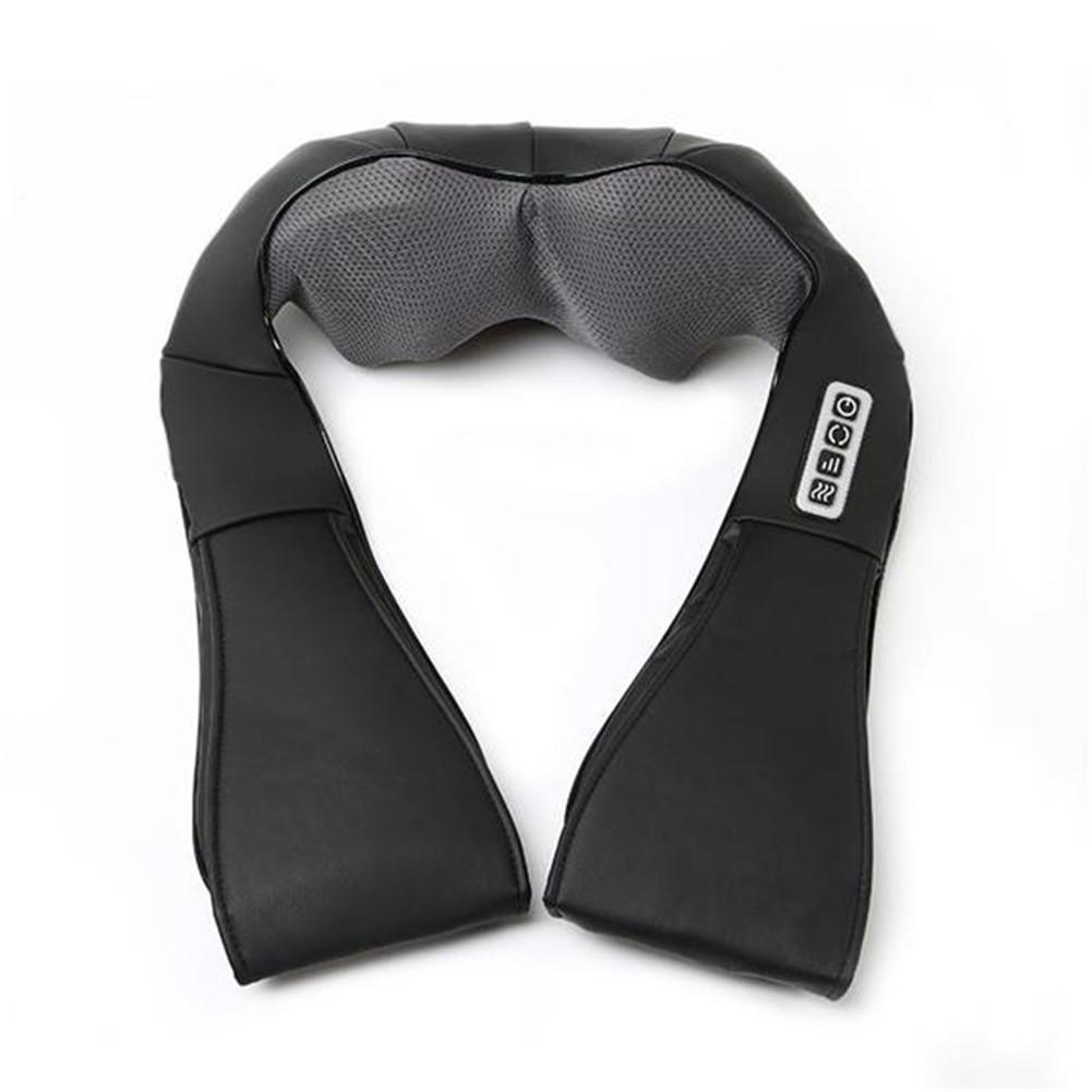 [US Direct] Shoulder Massager Pu Leather Kneading Household Neck Electric Cervical Spine Massager black