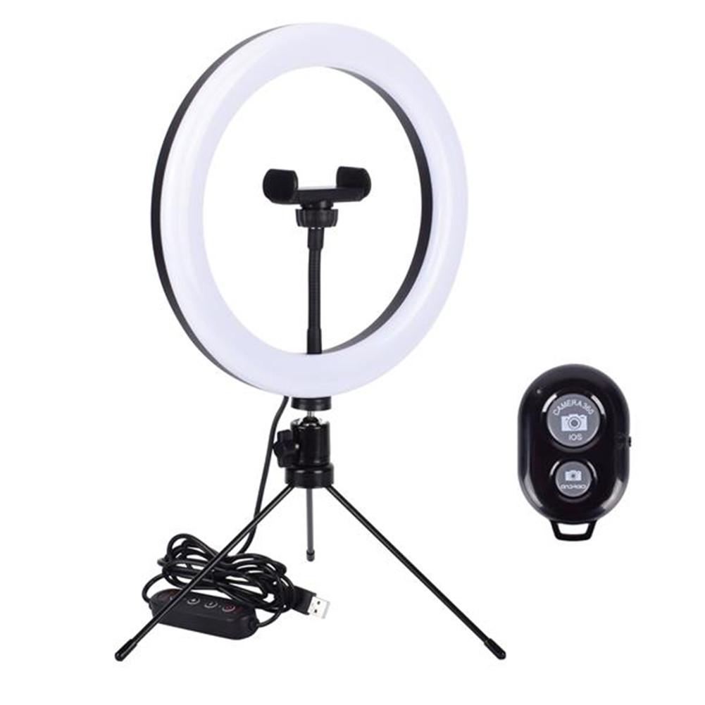 [US Direct] ZX-ZB10-DC5V-RGB 5v 14w 10m Selfie  Light  Ring Lights With Tripod Stand Fill  Light Livestream Video Lighting Clip white
