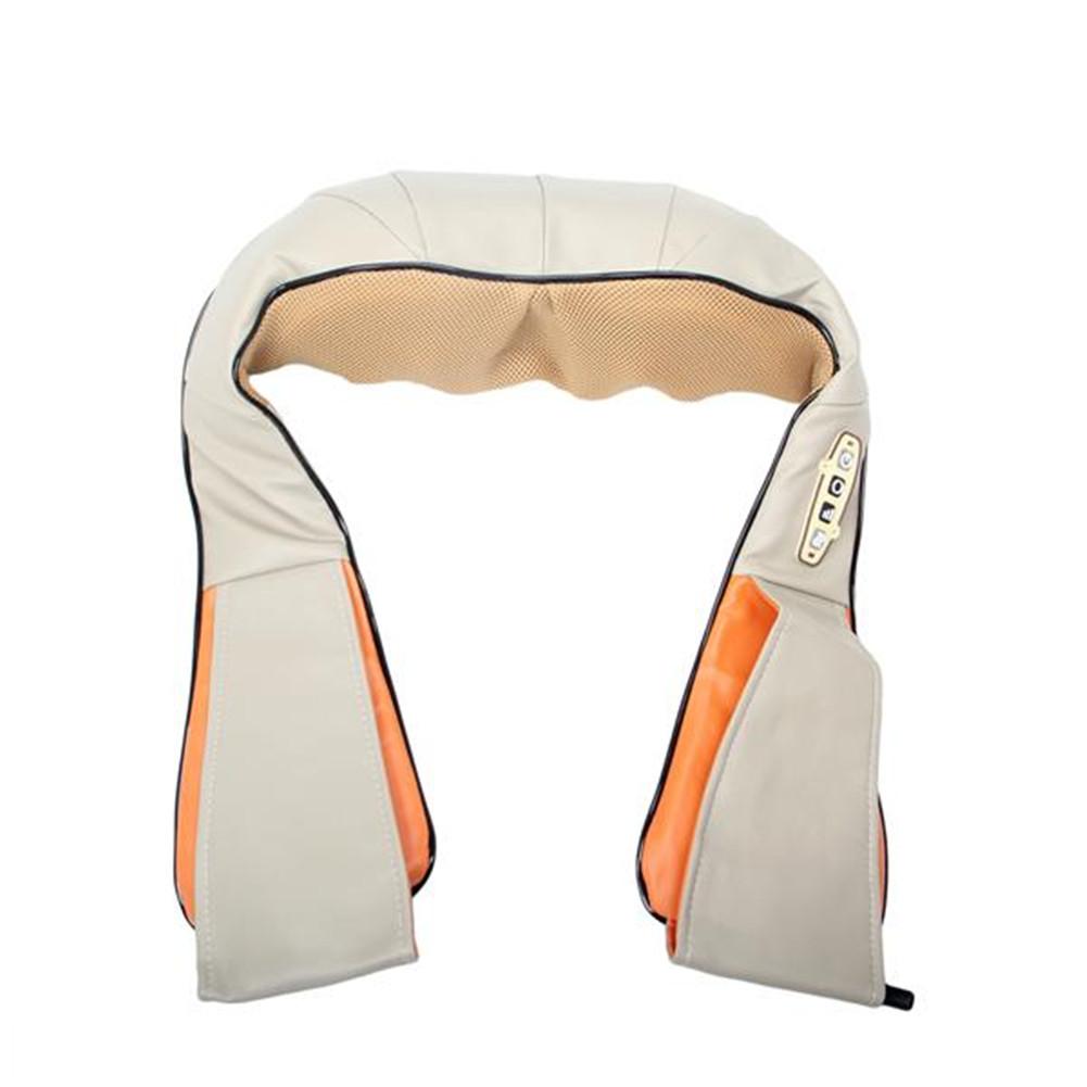 [US Direct] Shoulder Massager Pu Leather Kneading Household Electric Cervical Spine Massager Khaki