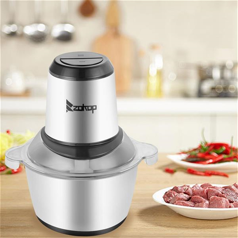 [US Direct] 110v 300w 2l Electric Meat  Grinder Stainless Steel Sausage Maker For Home Kitchen As shown