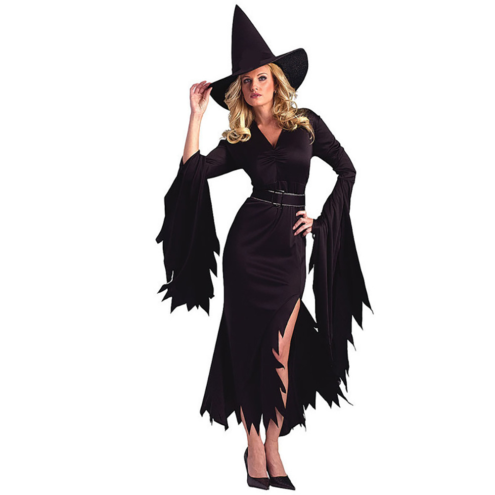 Halloween Costumes Pure Color Irregular witch Costume for Women Adult Dress Party Carnival Stage Cosplay Clothing black_M