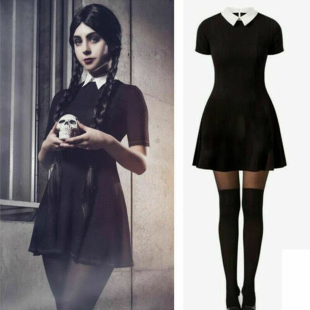 Halloween Fashionable Knit Peter Pan Collar Contrast Color Matching Slim Short Sleeves Dress  black_S