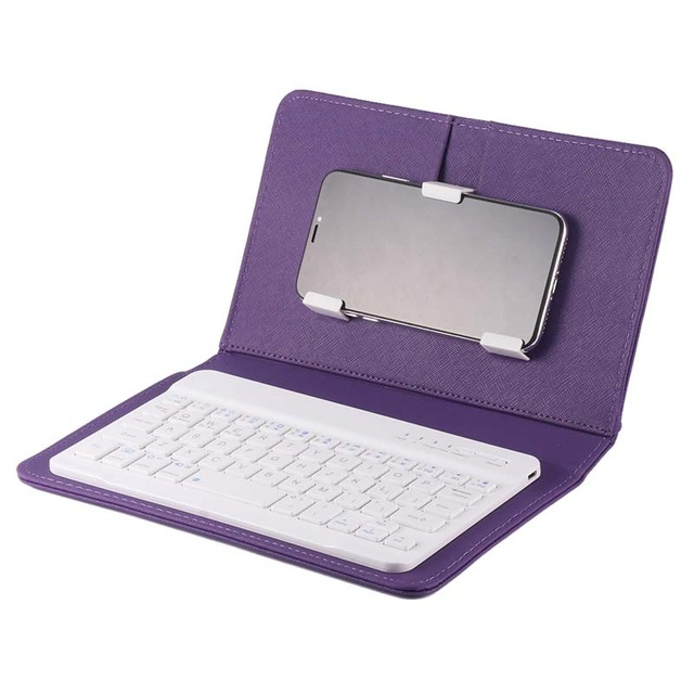 Portable PU Leather Wireless Keyboard Case for iPhone Protective Mobile Phone with Bluetooth Keyboard for iPhone 6 7 Smartphone purple