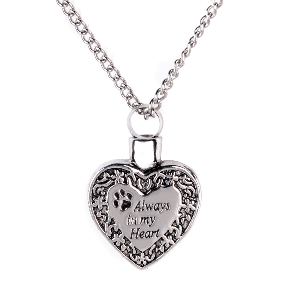 Mens Women Cremation Urn Necklaces with Dog Cat Paw Carving Memorial Jewelry Silver