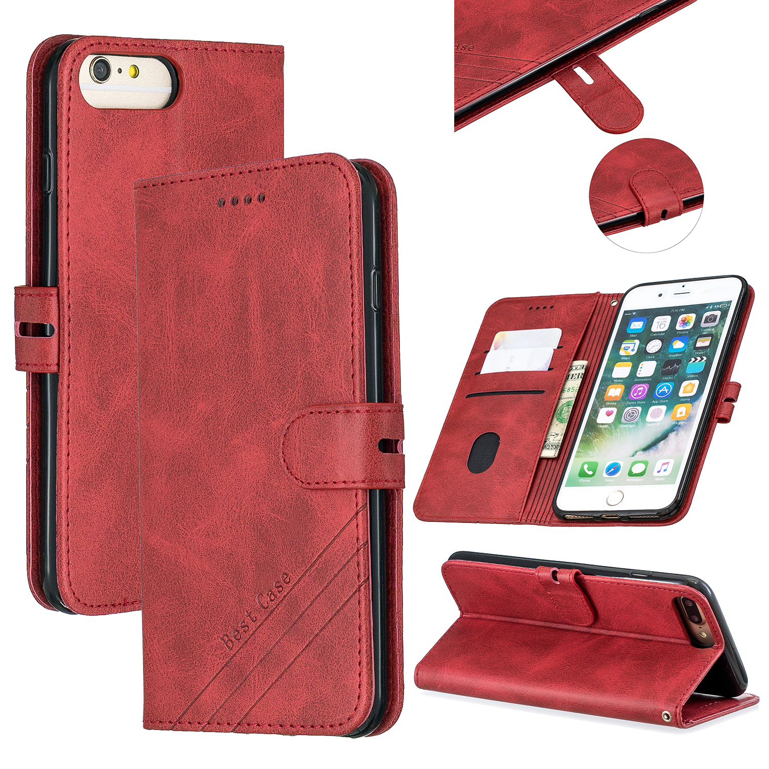 For iPhone 6 plus / 6S plus / 7 plus / 8 plus Denim Pattern Solid Color Flip Wallet PU Leather Protective Phone Case with Buckle & Bracket red
