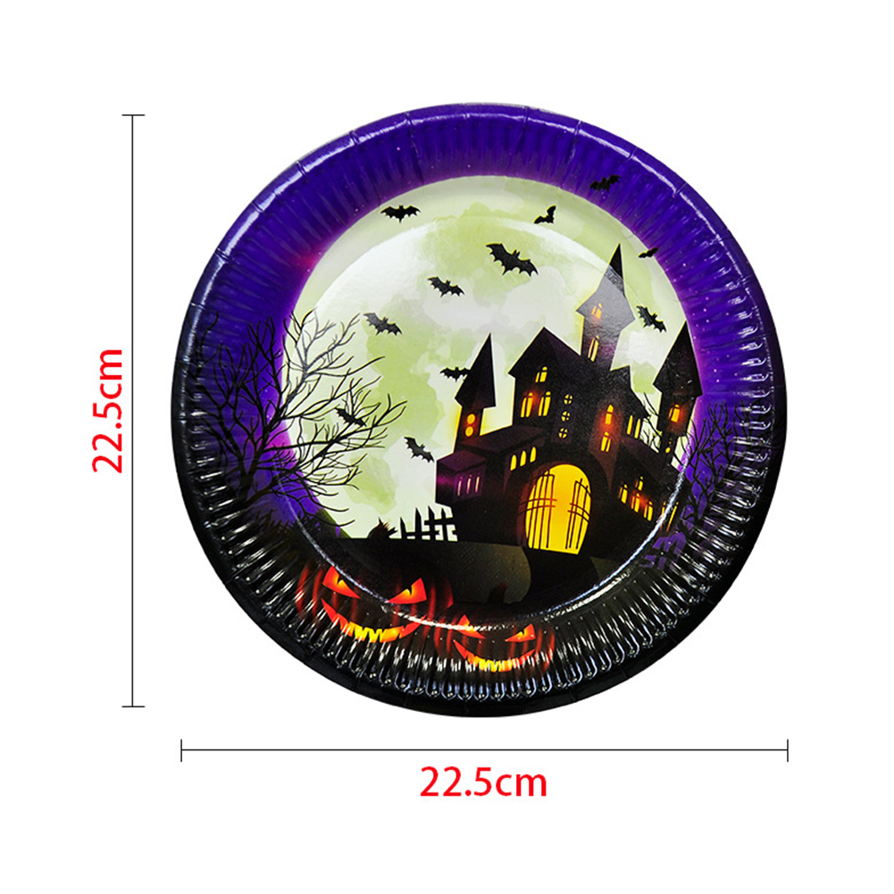 Halloween Party Decorated Table Setting Supplies Disposable Paper Plate Cup Tablecloth Set 10 paper trays