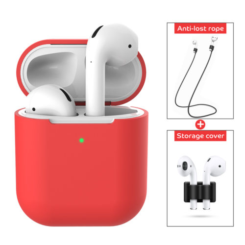 3 pcs/set For Apple AirPods 2 Wireless Charger Protective Silicone Case Cover Accessories red