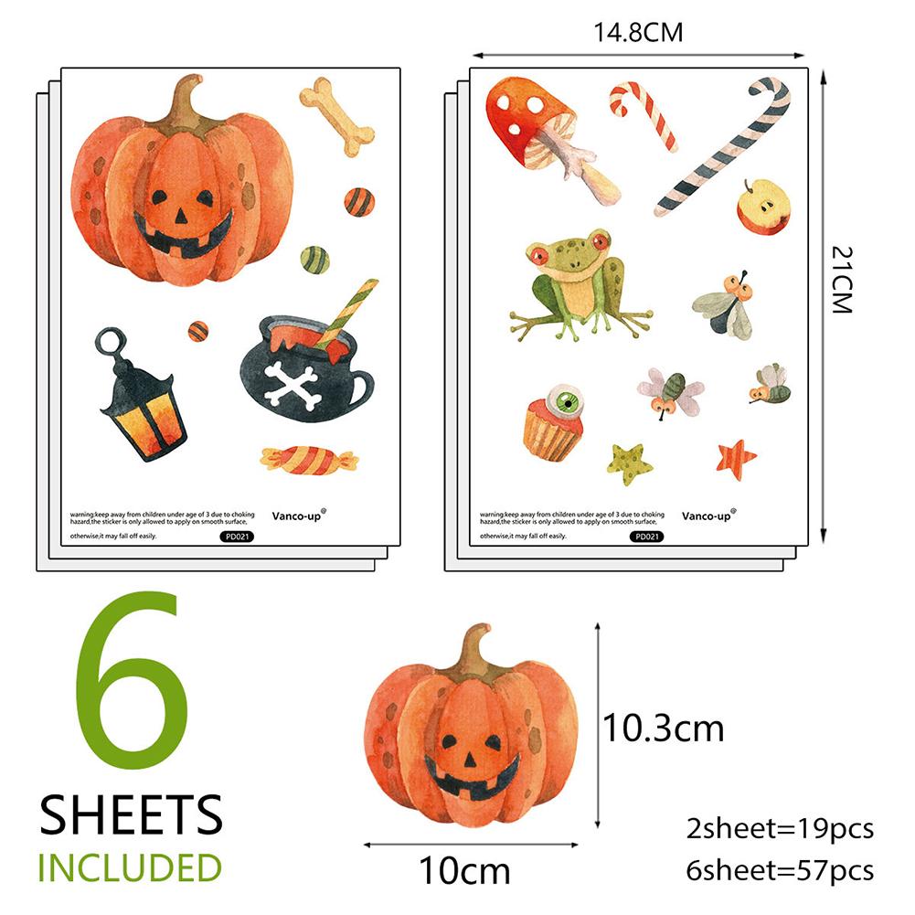 6Pcs PVC Halloween Wall Stickers, Halloween Poisonous Mushroom and Pumpkin Wall Sticker,Halloween Decoration for Home14.8*21CM 14.8*21cm*6pcs
