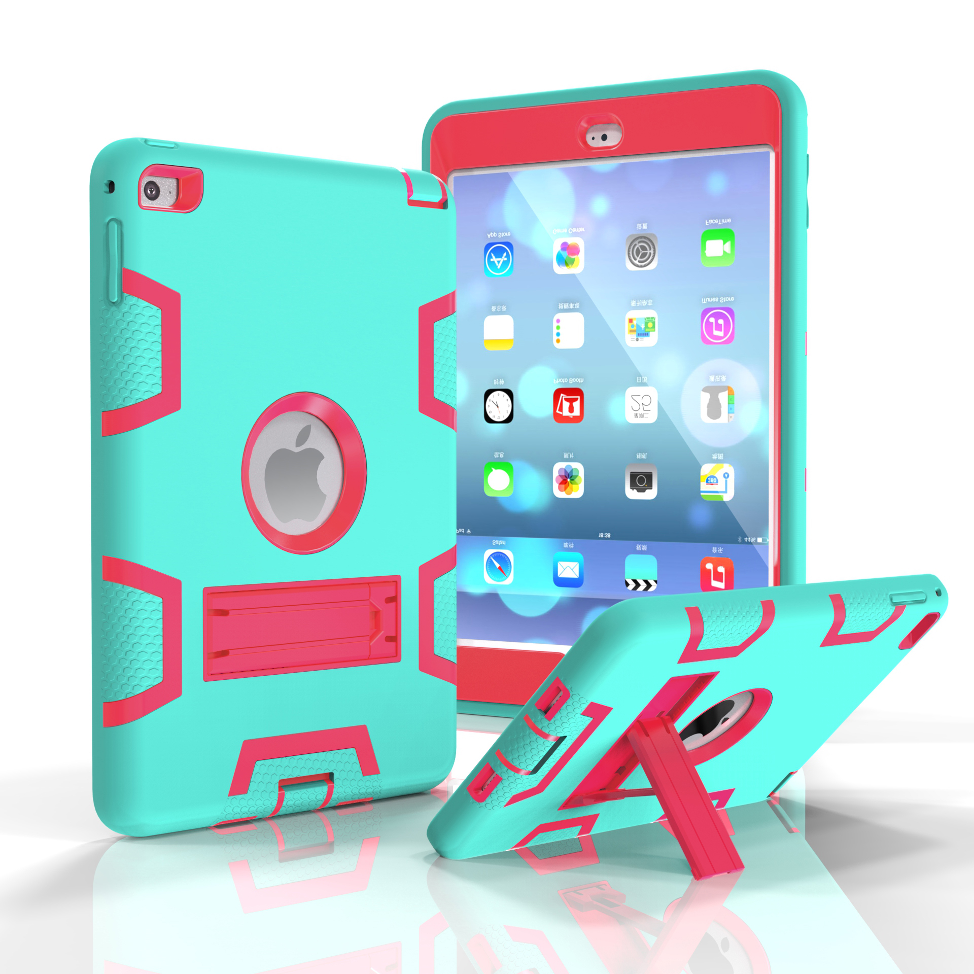 For IPAD MINI 4 PC+ Silicone Hit Color Armor Case Tri-proof Shockproof Dustproof Anti-fall Protective Cover  Mint green + rose red