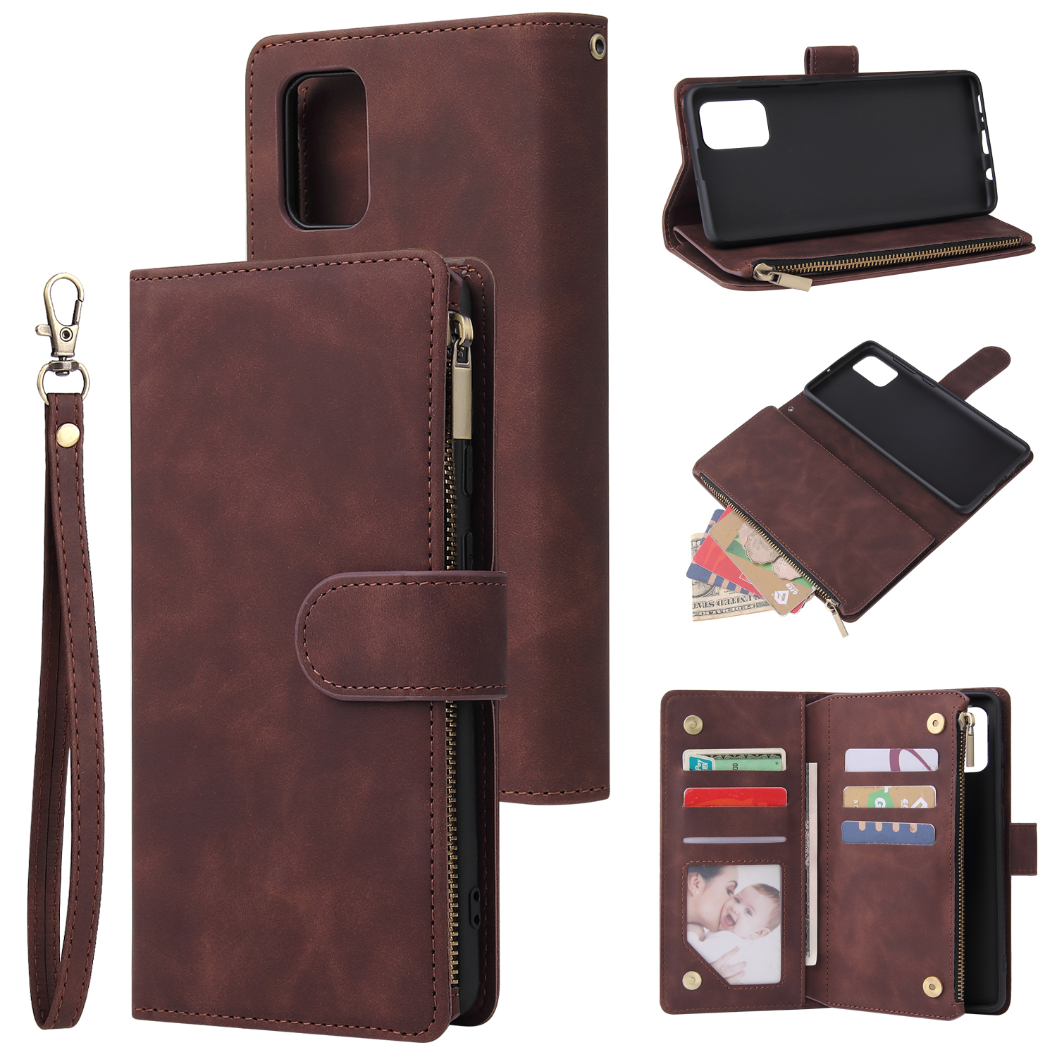 For Samsung A71 Case Smartphone Shell Precise Cutouts Zipper Closure Wallet Design Overall Protection Phone Cover  Coffee