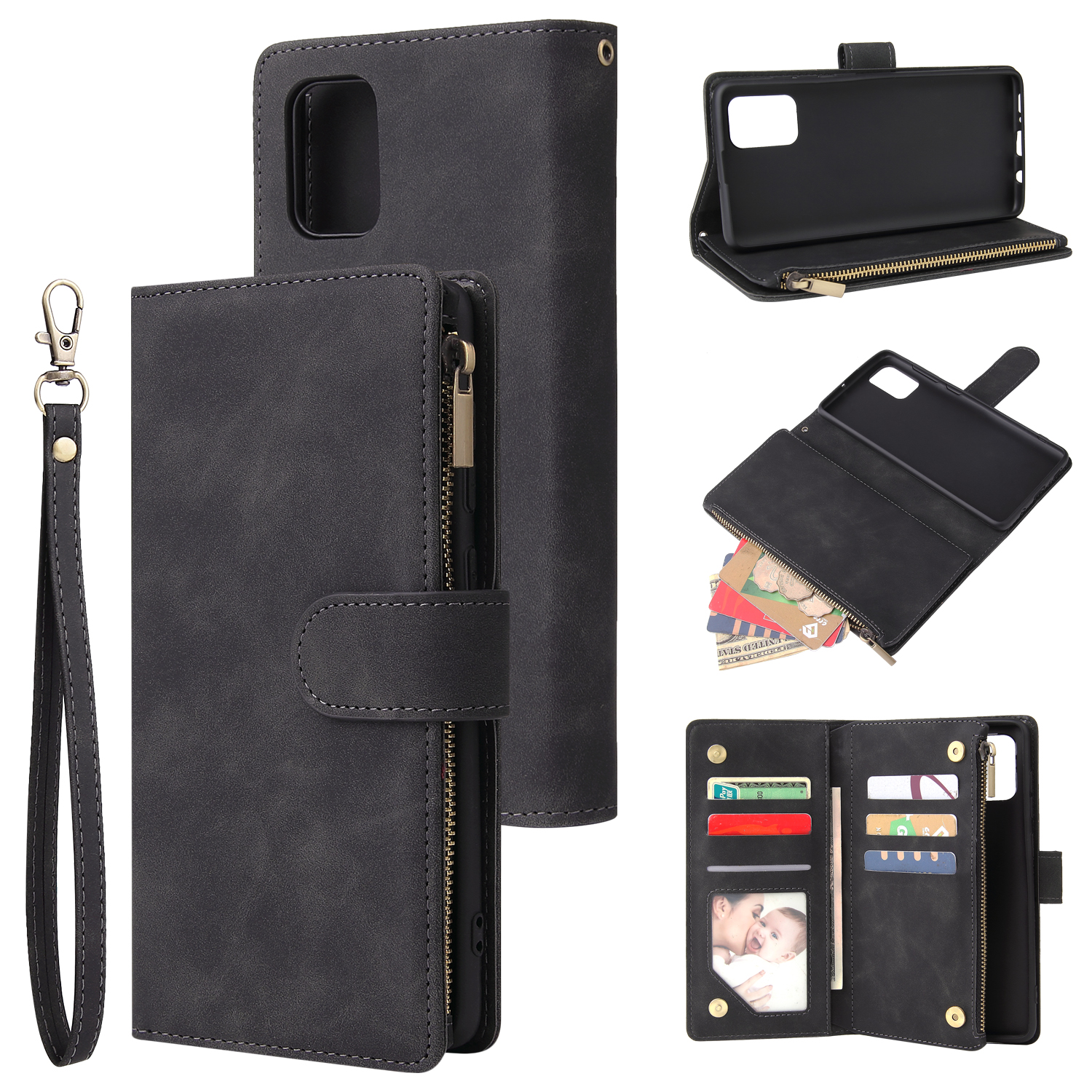 For Samsung A71 Case Smartphone Shell Precise Cutouts Zipper Closure Wallet Design Overall Protection Phone Cover  Black