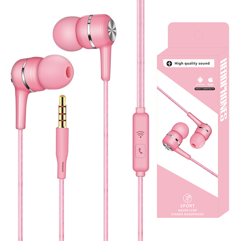 Wired Headset Earphone with Microphone Hands Free for Tablet PC Phone Pink