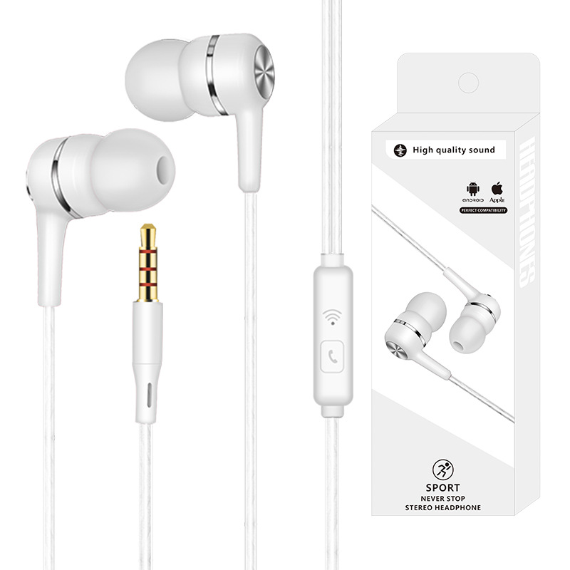 Wired Headset Earphone with Microphone Hands Free for Tablet PC Phone white
