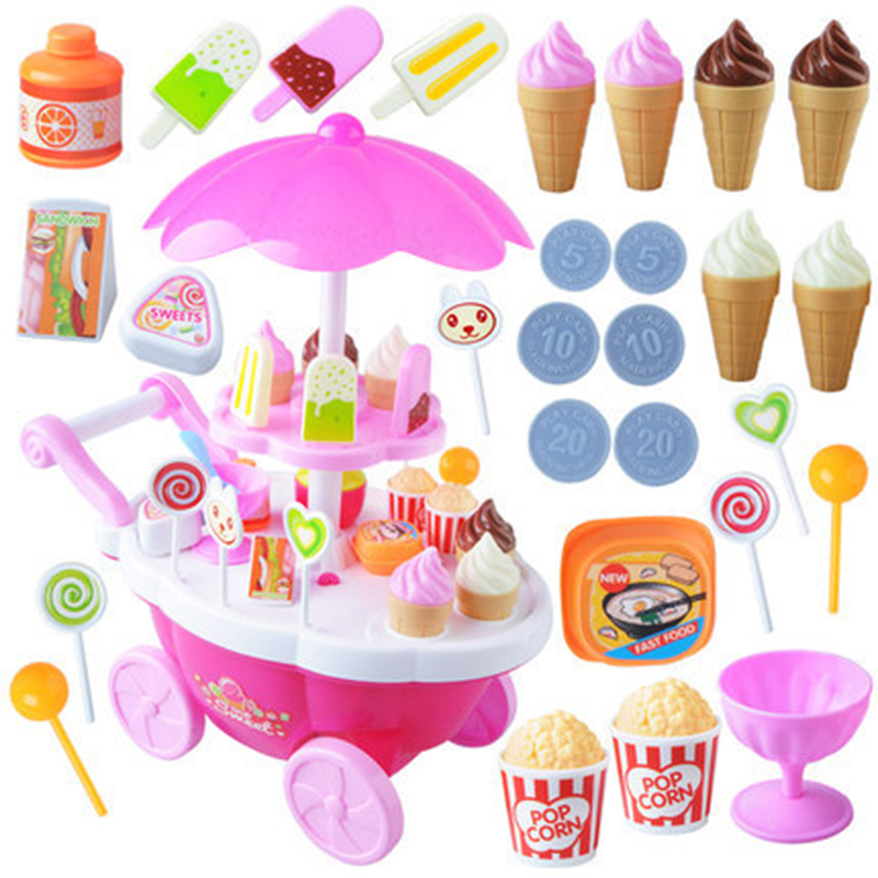 39pcs Kids Pretend Play Toy Set, Mini Simulated Candy Wheelbarrow Ice Cream Store, Play House Toys