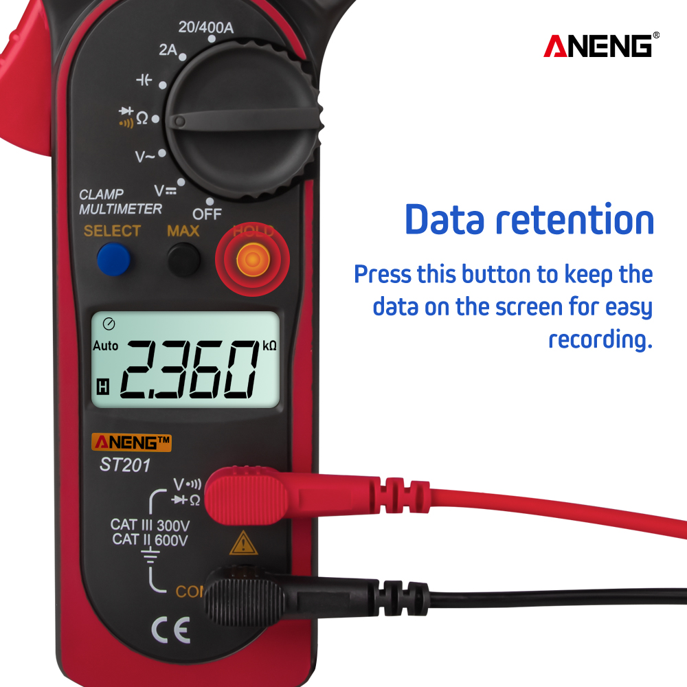 ANENG ST201 Digital Clamp Multimeter Ammeter Transistor Tester Voltage Tester Red Color red