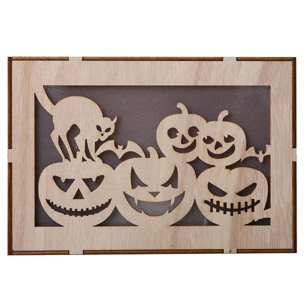 Wooden Hollow Hanging Pendant Pumpkin Haunted House LED Lights 3D Halloween Party Decoration Crafts JM01499