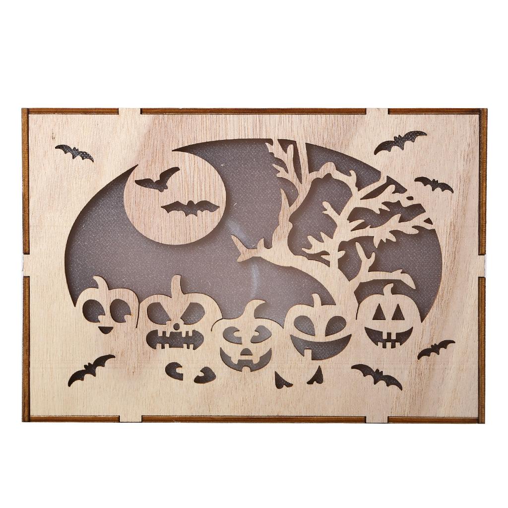 Wooden Hollow Hanging Pendant Pumpkin Haunted House LED Lights 3D Halloween Party Decoration Crafts JM01500