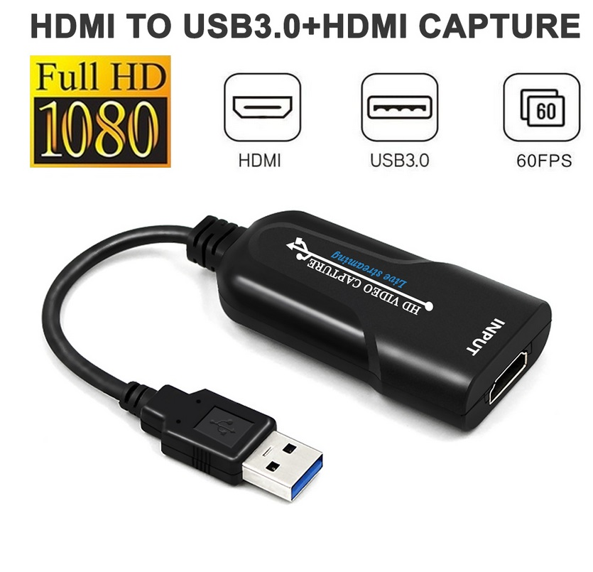 USB 1080P 30Fps Video Capture Card Free Frame Drive Acquisition Box Game Capture Board black