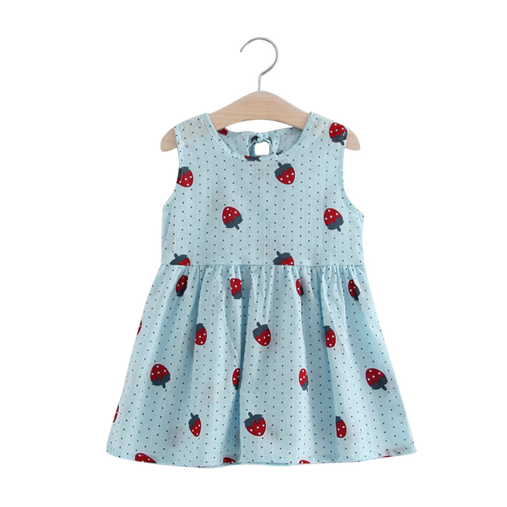 Girl Cute Strawberry Sleeveless Cotton Princess Flax Dress for Summer Blue-strawberry vest skirt_120cm