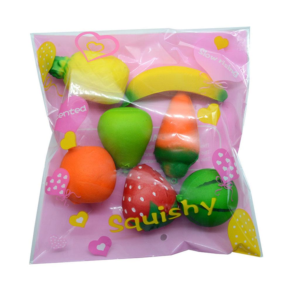 7pcs/Set Mini Cartoon Fruits Squishy Keychain PU Rising Toy Vent Soft Squeeze Decoration Random Style Not Repeated 7pcs/set random style not repeated