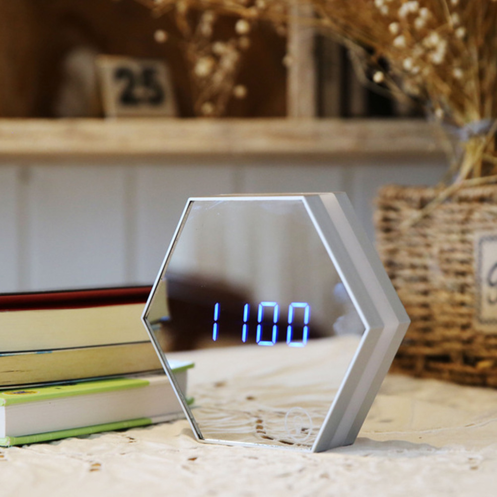 LED Mirror Alarm Clock with Night Light for Bedroom Office Travel Digital Home Decoration Clock white