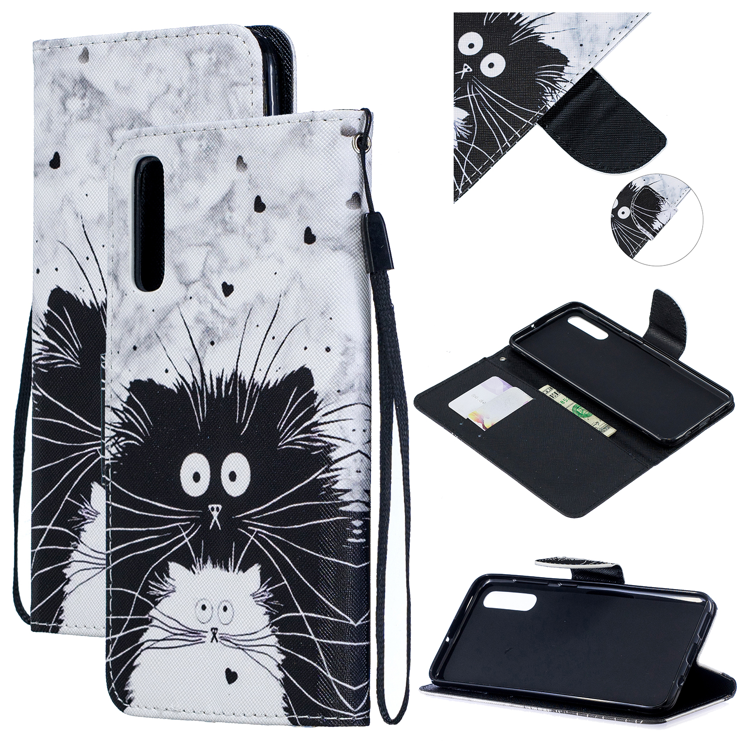 For Samsung A50/A70 Smartphone Case Overall Protective Phone Shell Lovely PU Leather Cellphone Cover with Card Slots  Black white cat