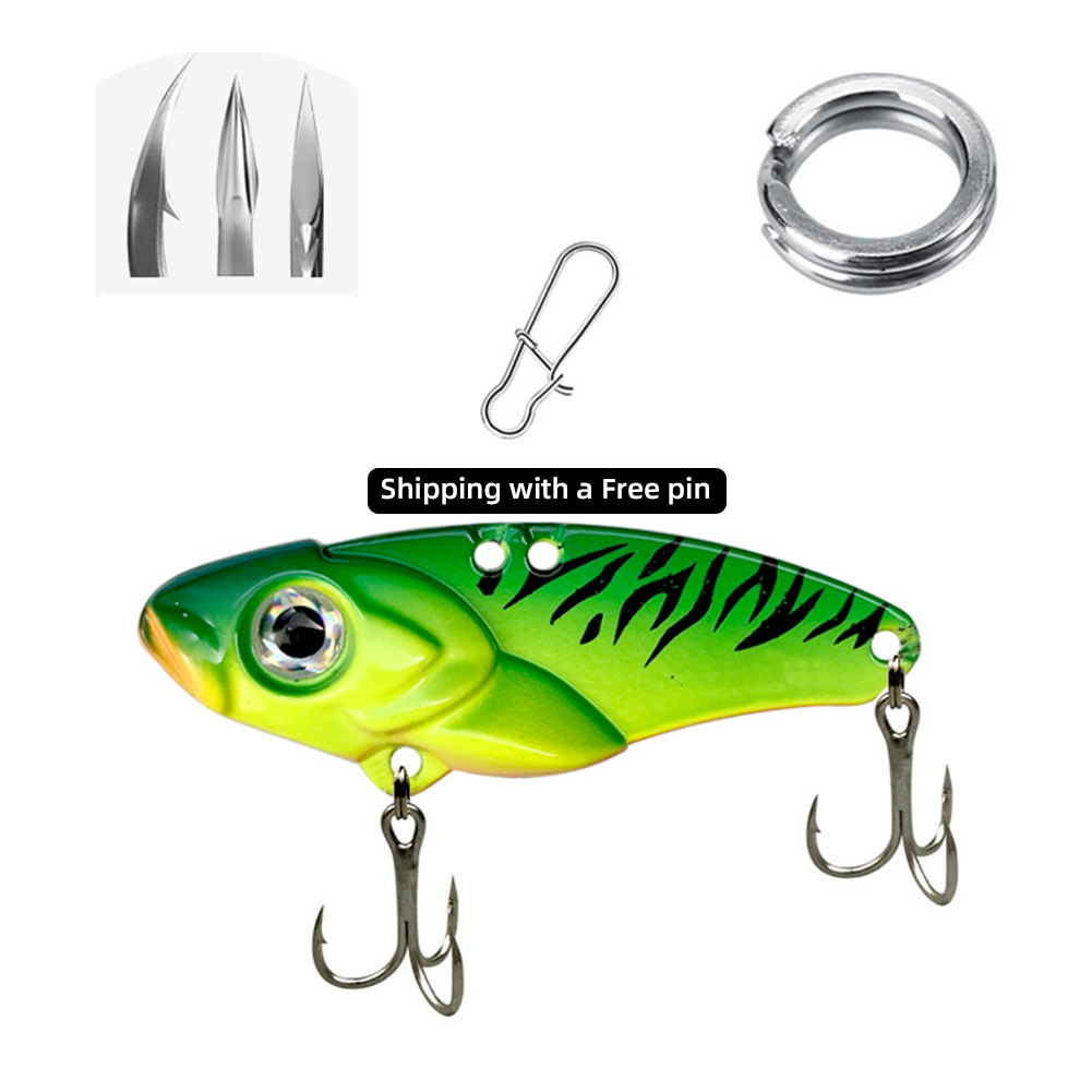 fishing lure 10/20g 3D Eyes Metal Vib Blade Lure Sinking Vibration Baits Artificial Vibe for Bass Pike Perch Fishing Green pattern_10g