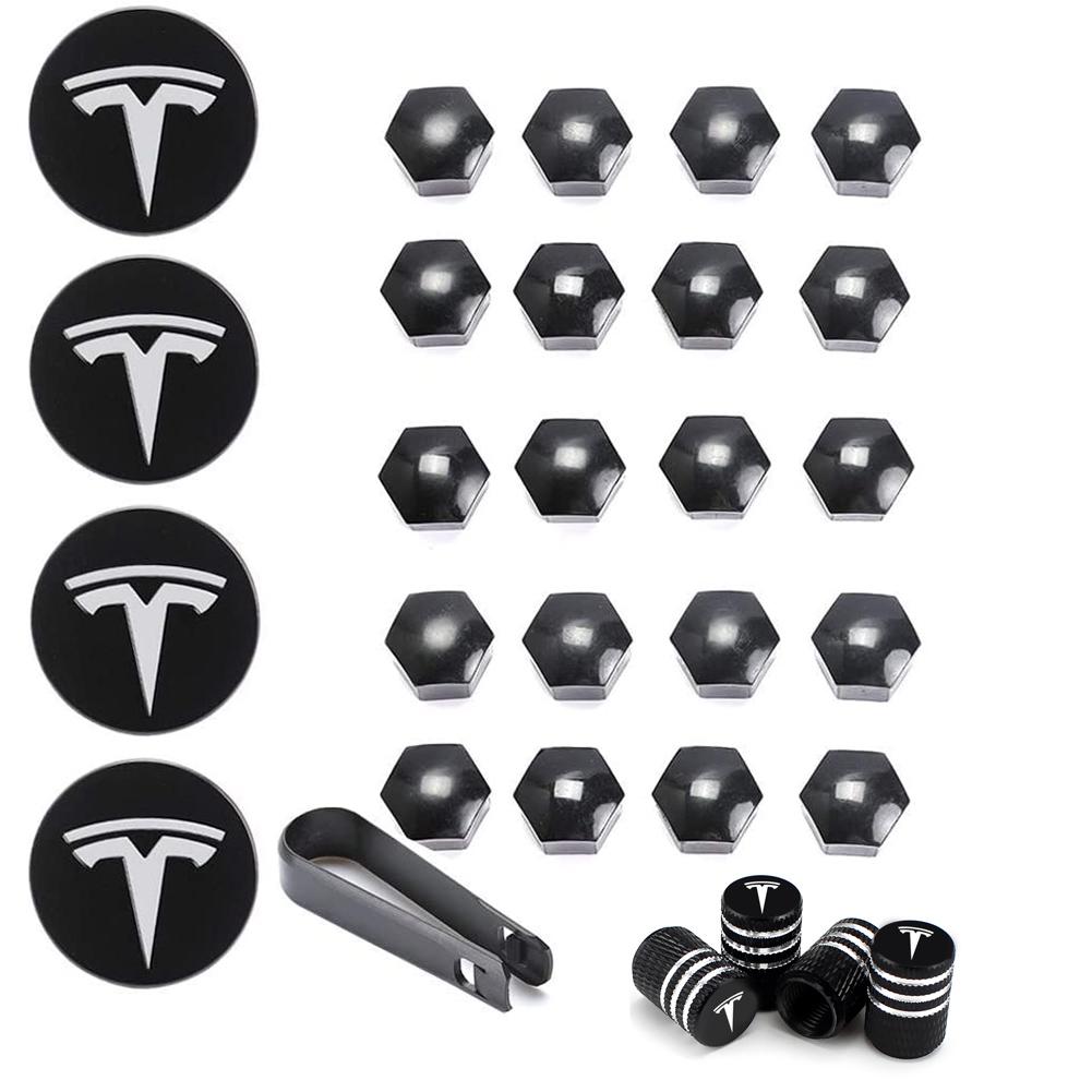 29pcs Wheel Cap Kit for Tesla Aluminum Alloy Center Cap Set 20 Wheel Lug Nut Cover