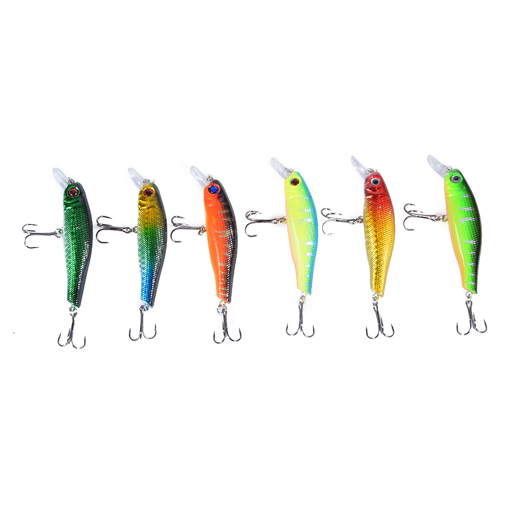 6PCS 8.5CM Plastic Hard Bait Crankbait Treble Hooks Fishing Lure 6 Colors Mixed 6 colors mixed