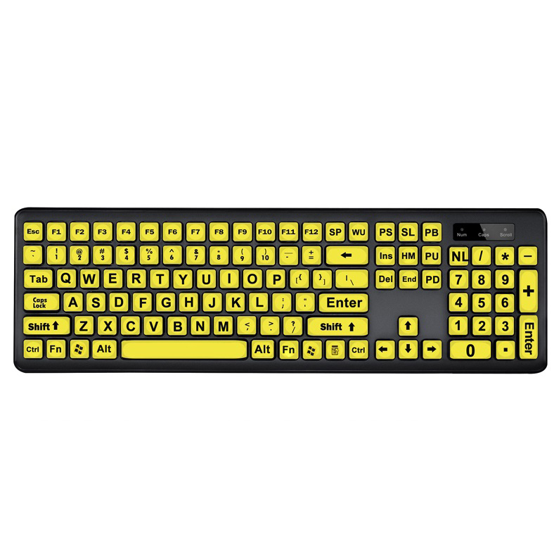 104-Keys Computer Keyboard 1.35m Cable Ergonomic Design Wired Keyboard USB Interface Plug and Play Clear Keys for The aged People yellow