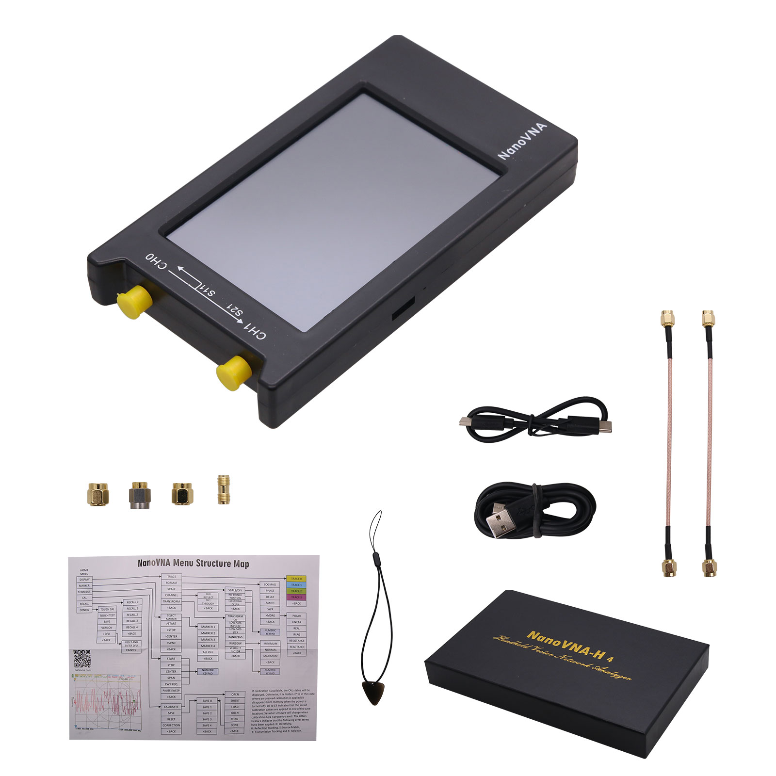 Network Antenna Analyzer NanoVNA-H4 10KHz~1.5GHz VNA 4inch LCD 1950MAh Battery HF VHF UHF UV Vector  4.0 inches