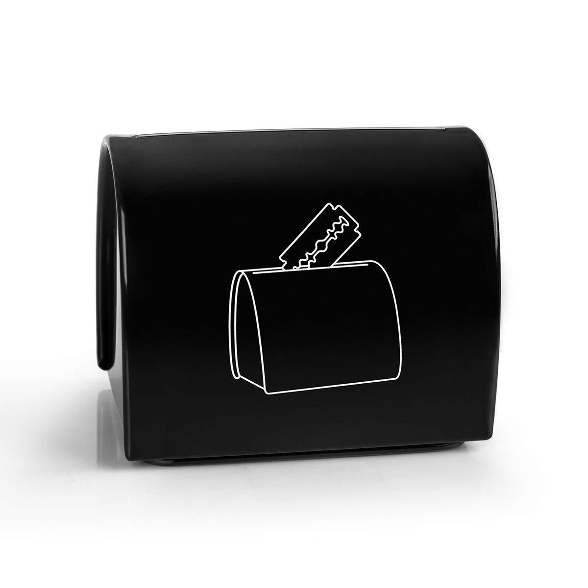 Blade  Recycling  Box Razor Blade Storage Tin Barber Blade Disposal Safe Storage Blade Disposal Case Black