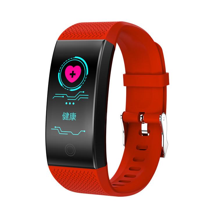 Bluetooth Heart Rate Blood Pressure Sensor Bracelet Life Waterproof Health Sleep Fitness Tracker Smart Watch red