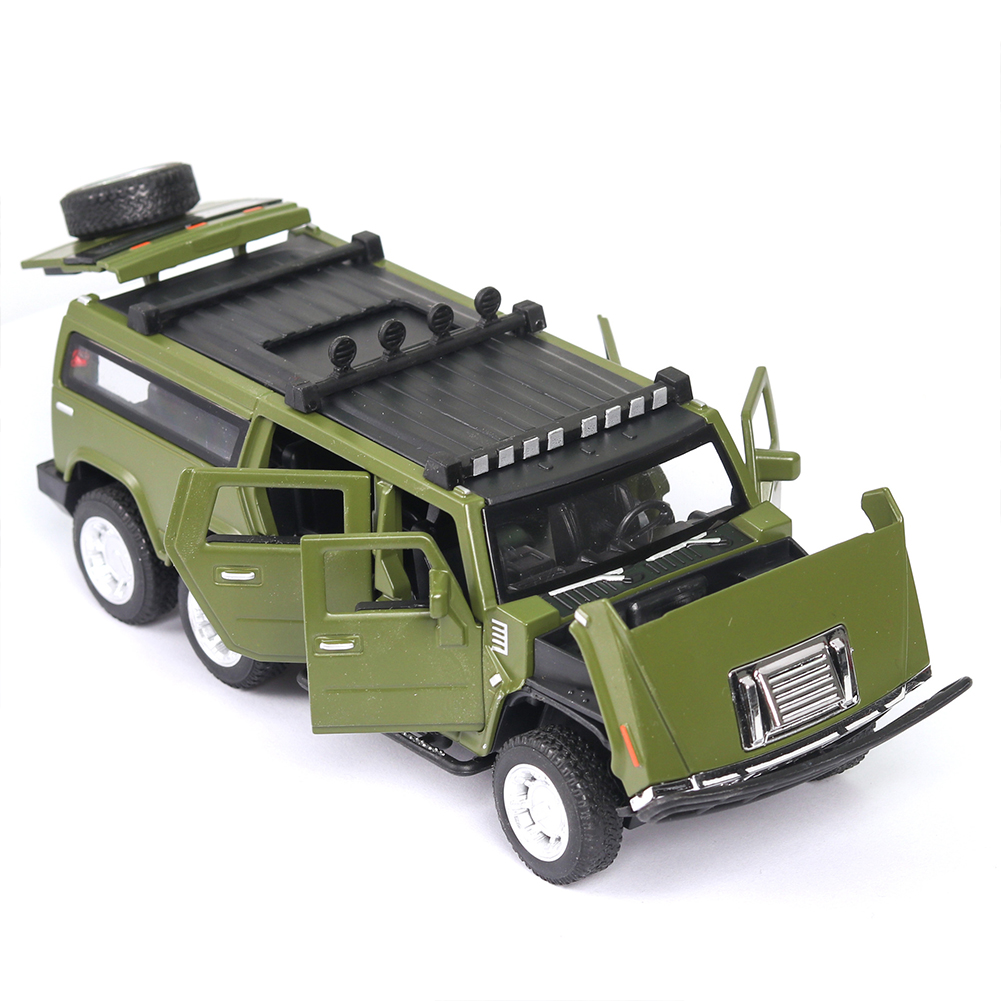 1:32 Car Model for Hummer H2 Off-road High Simulation Alloy Car Model Sound And Light Pull Back Door Boy Car Toy For Children Gifts green
