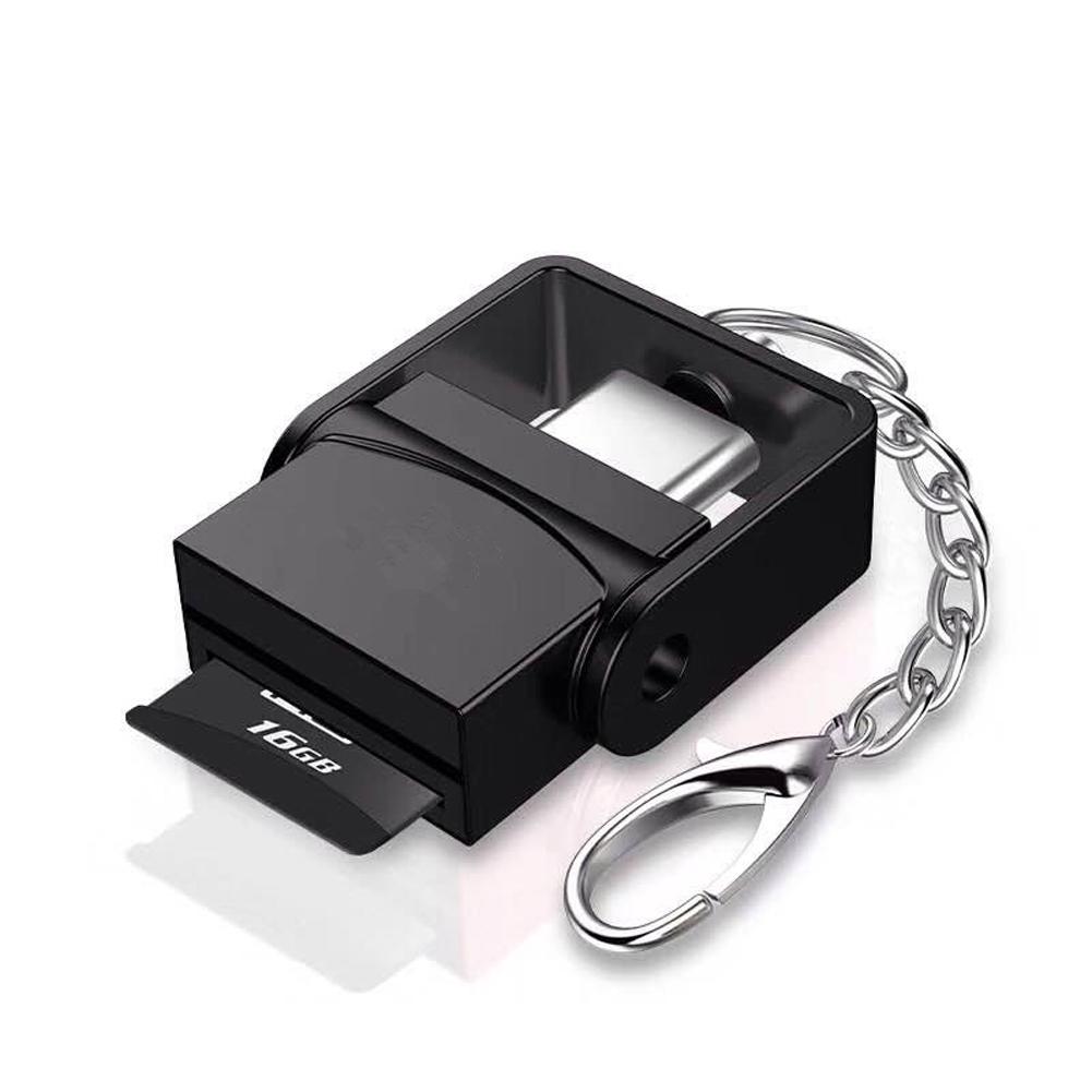 Portable Aluminum Alloy Type-c Card Reader TF Card Reader for MacBook Pro, Samsung Galaxy S8 black