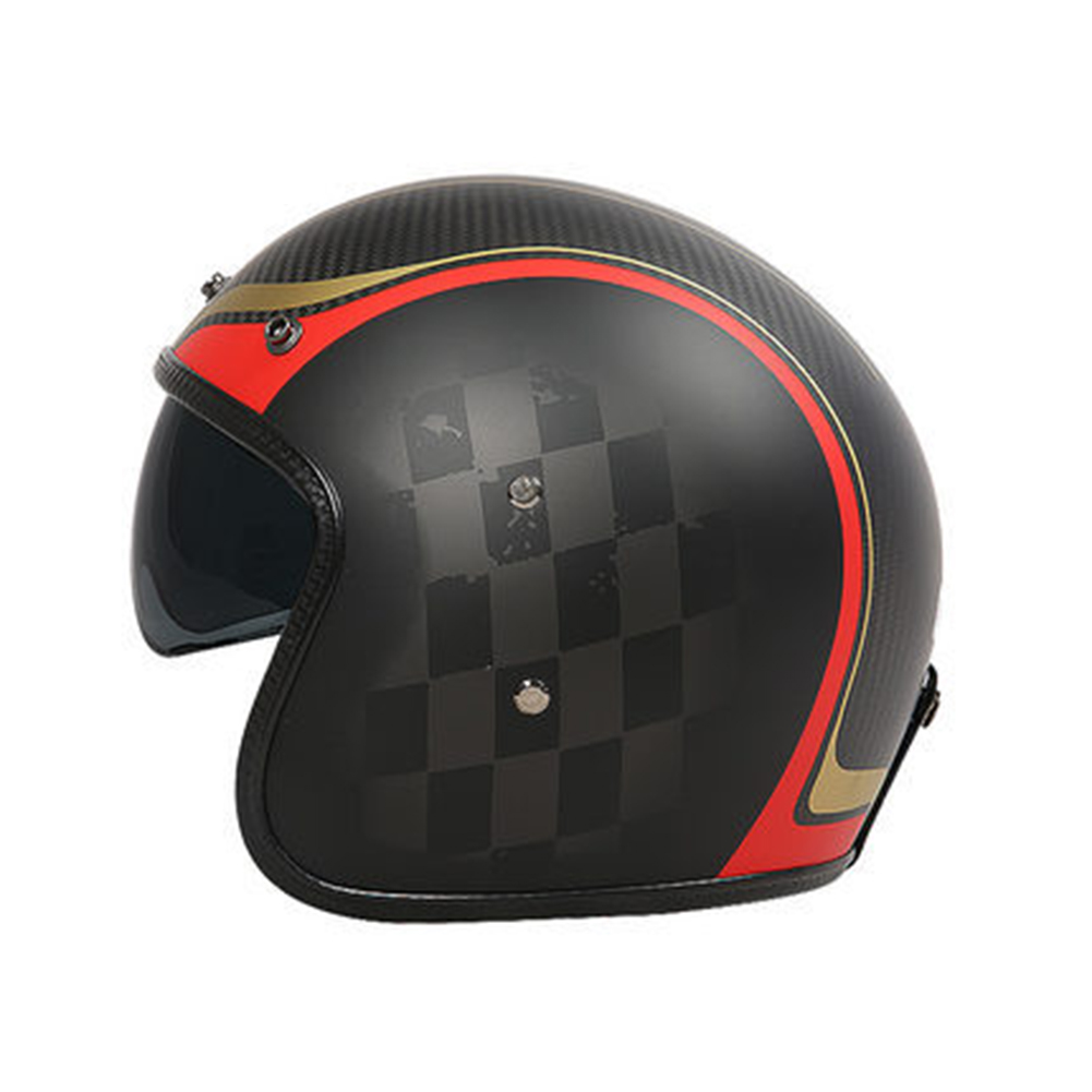 Retro Helmet Carbon Fibre Half Helmet Half Covered Riding Helmet Matt champion 3K carbon fiber L