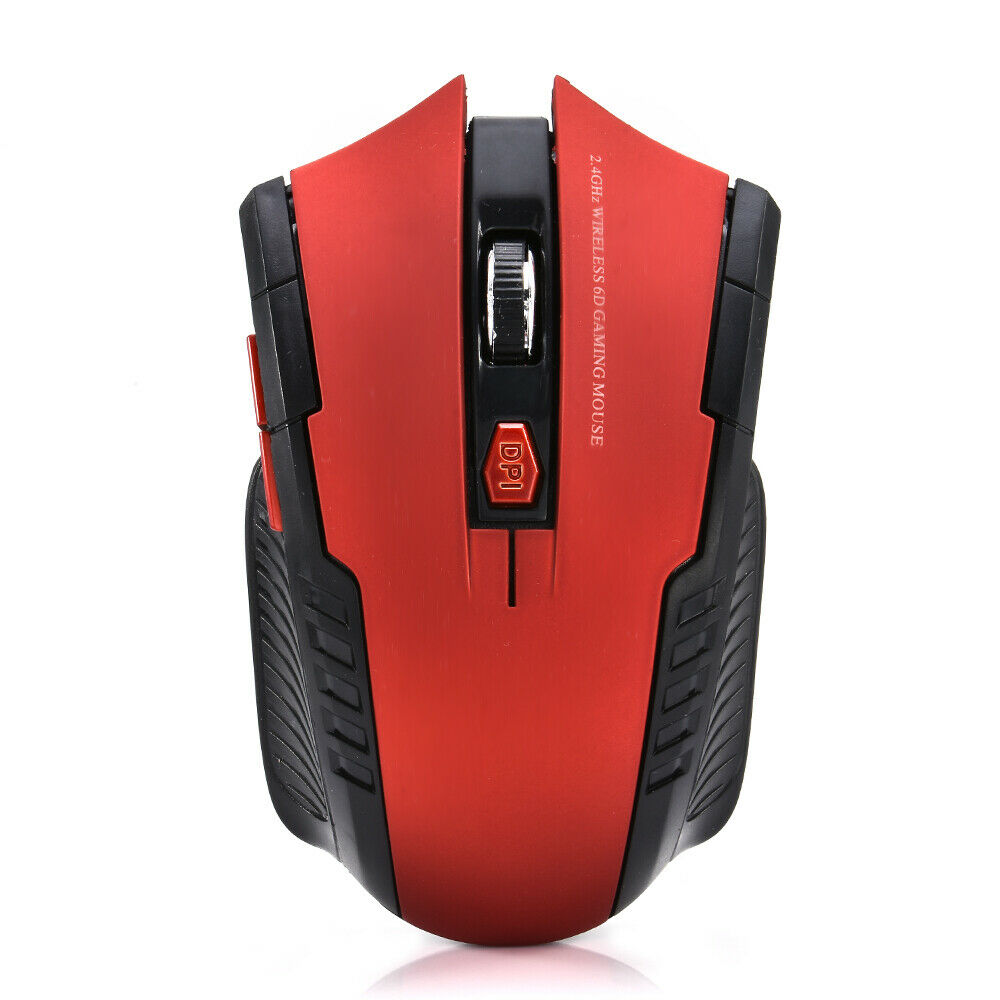 USB 2.4GHz Wireless Optical Mouse Ergonomic 6 Key Mouse for Computer Laptop red_Blister packaging