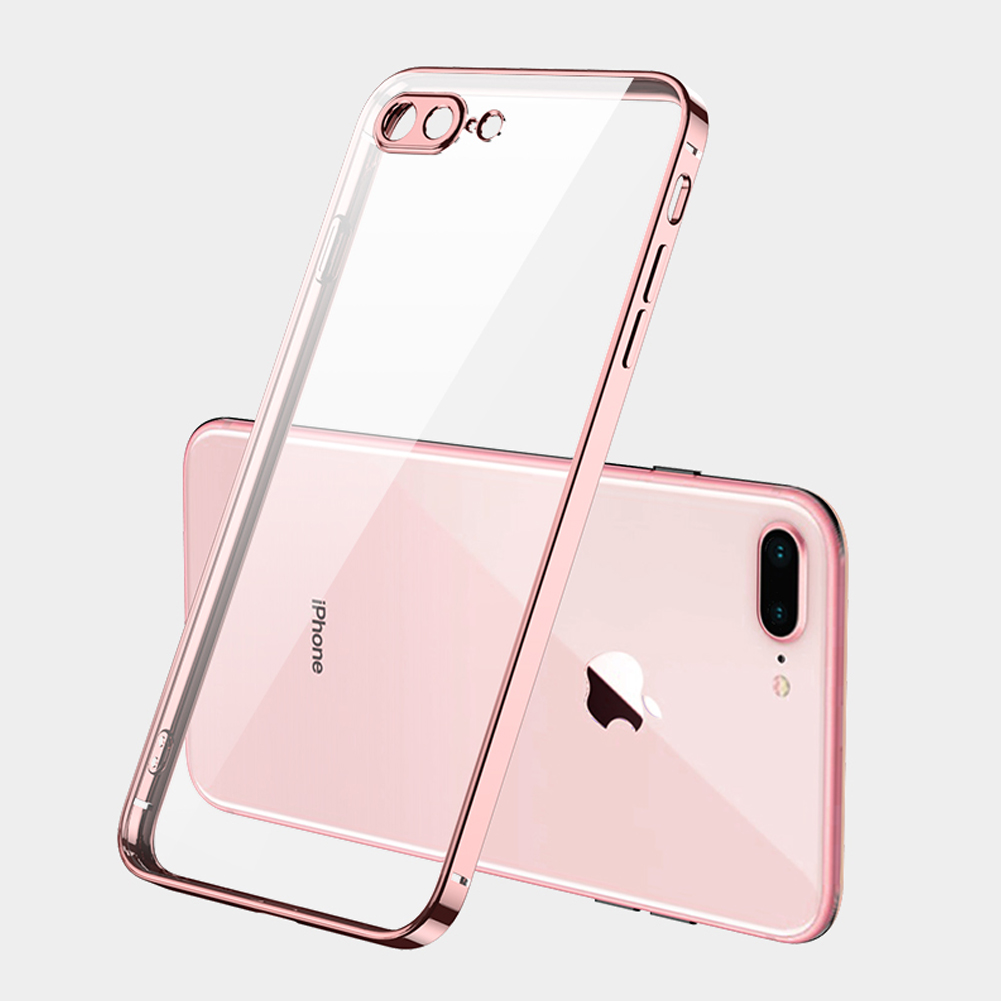 ForiPhone 7/8/SE 2020/7 plus/8 plus/6/6S/6 plus/6S plus Mobile Phone shell Square Transparent electroplating TPU Cover Cell Phone Case Rose gold