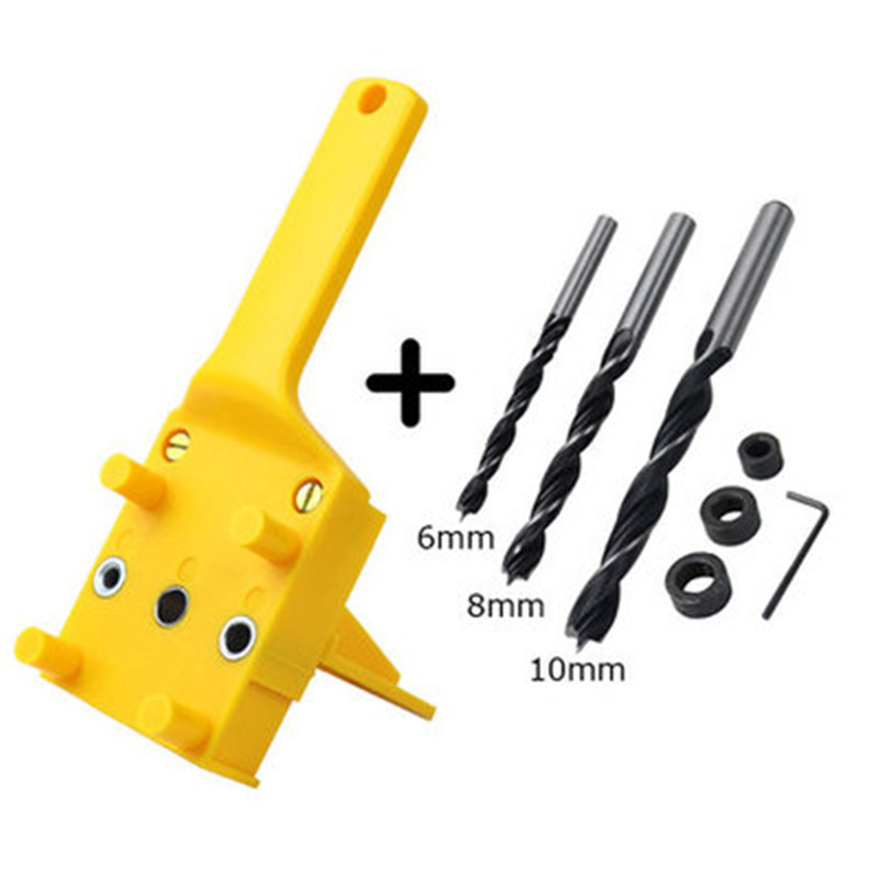 Woodworking  Dowel  Jig  Set Drill Bit Handheld Saw Drills Guide Hole Locator For Carpentry Yellow 8-piece set