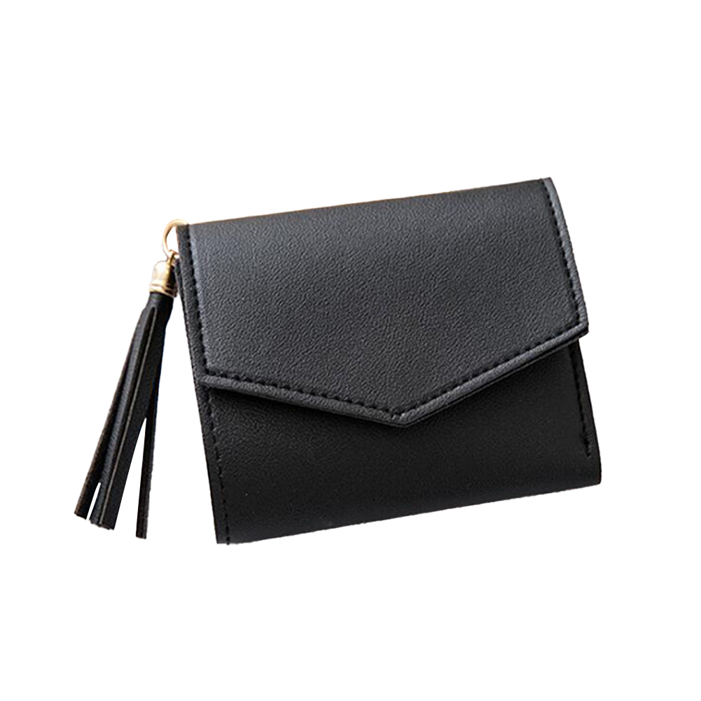 Women Short Wallet 3-folds Tassel Solid Color PU Leather Magnetic Buckle Square Purse black