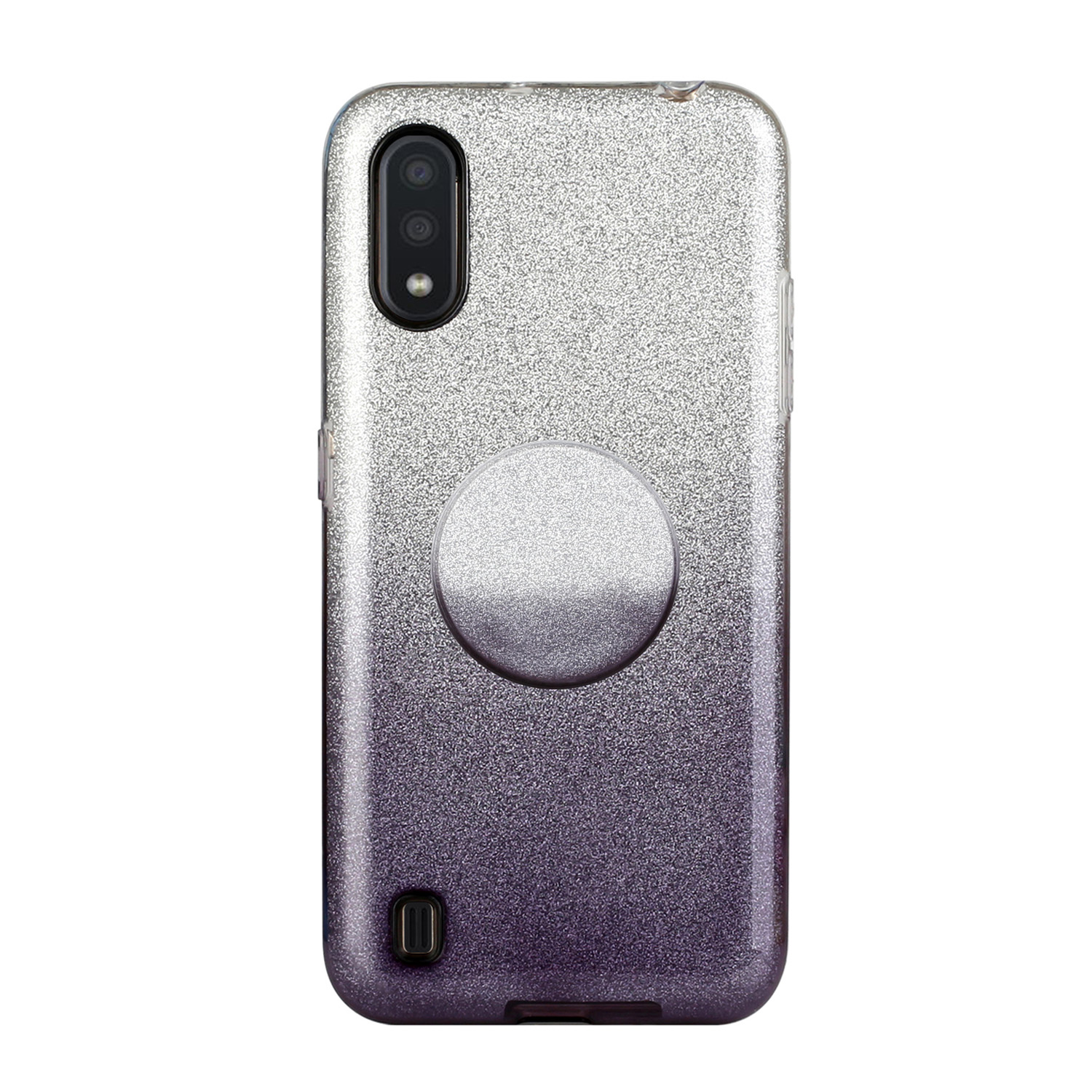For Samsung A10/A50/A30S/A70/A20S Phone Case Gradient Color Glitter Powder Phone Cover with Airbag Bracket black