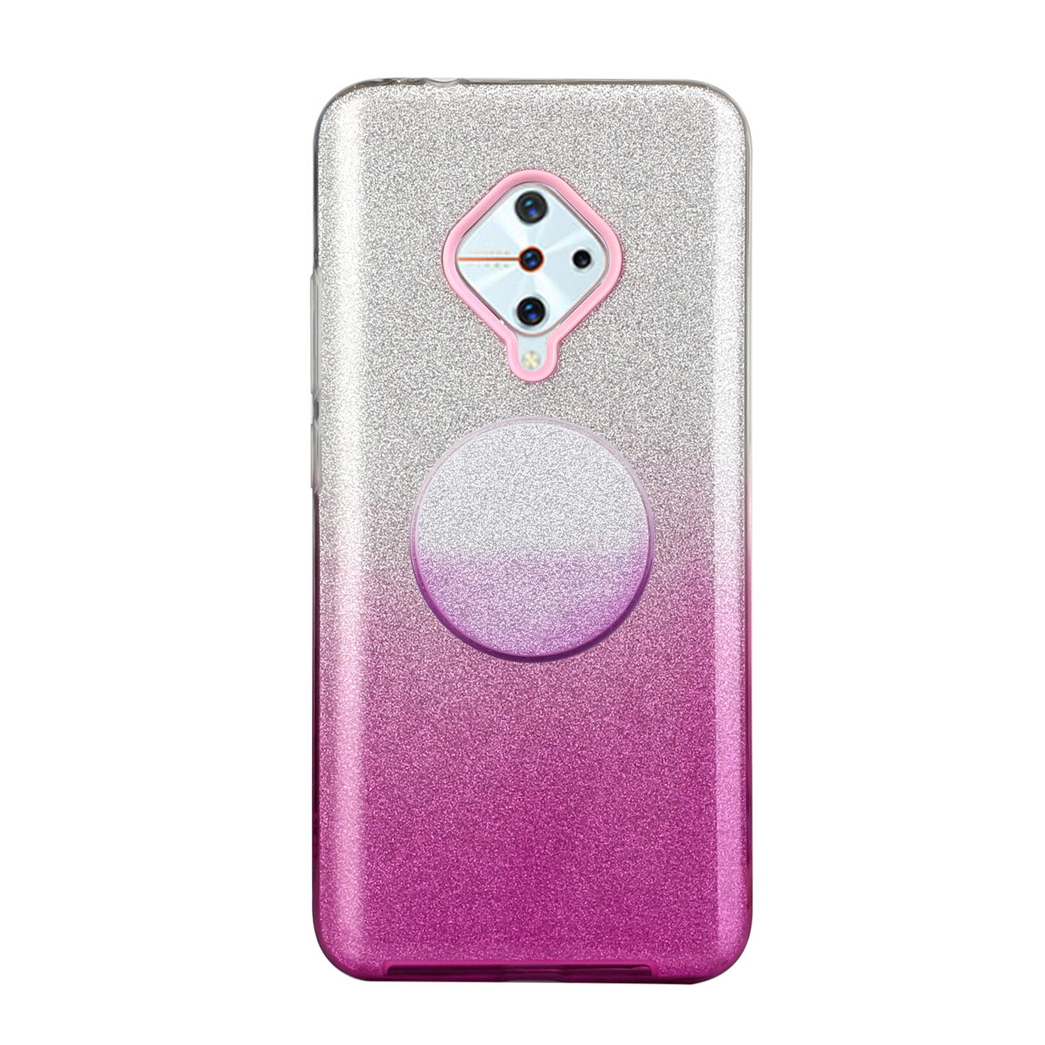 For VIVO Y91/Y93/Y95 with hole/V17/S1 Pro/Y95 Phone Case Gradient Color Glitter Powder Phone Cover with Airbag Bracket purple