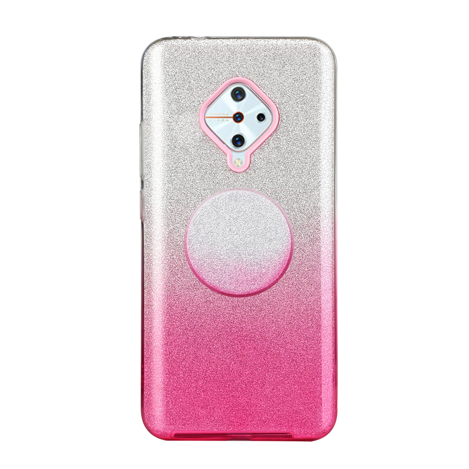 For VIVO Y91/Y93/Y95 with hole/V17/S1 Pro/Y95 Phone Case Gradient Color Glitter Powder Phone Cover with Airbag Bracket Pink