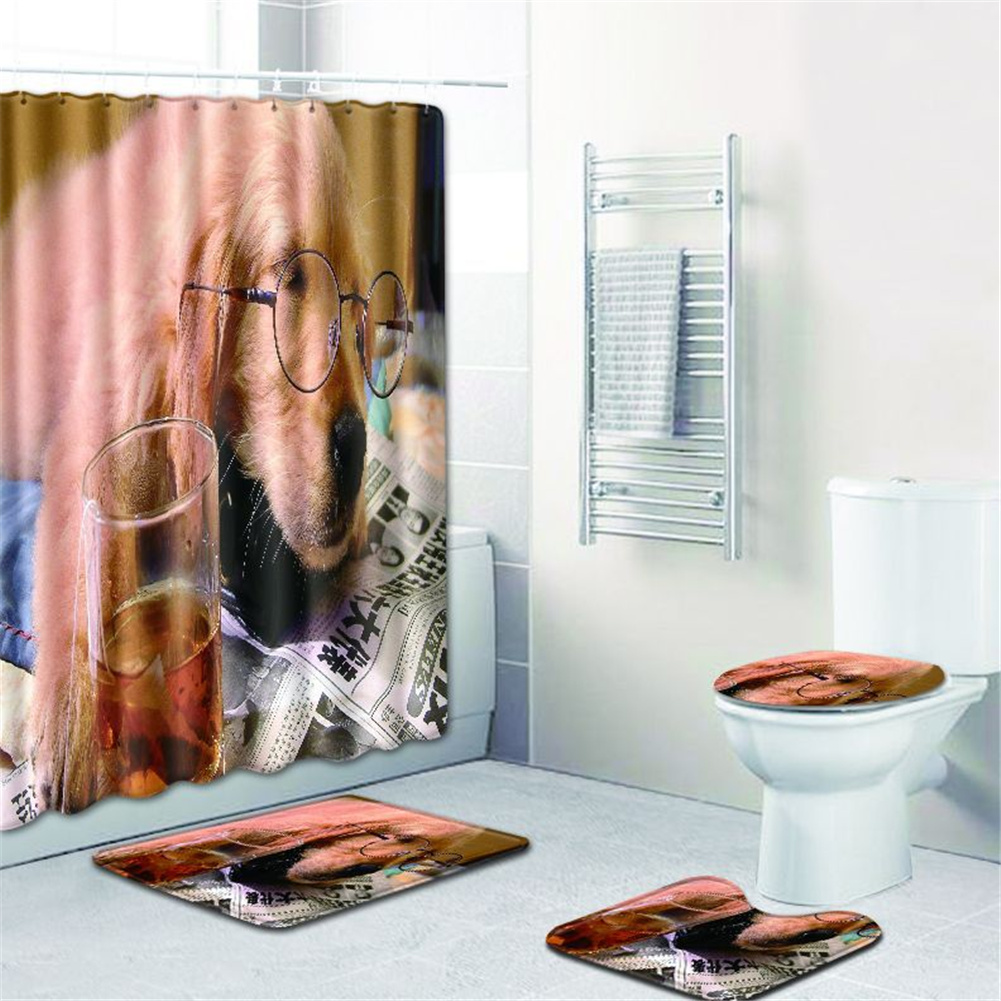 4  Pcs Non-slip Rug Toilet  Lid  Cover Bath  Mat Waterproof Bath  Curtain w180623-d041_50*80cm