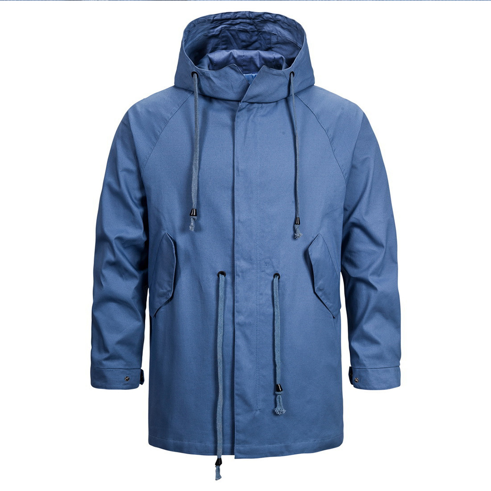 Men's jacket Long-sleeve solid color outdoor  FitType hooded jacket  Blue_M