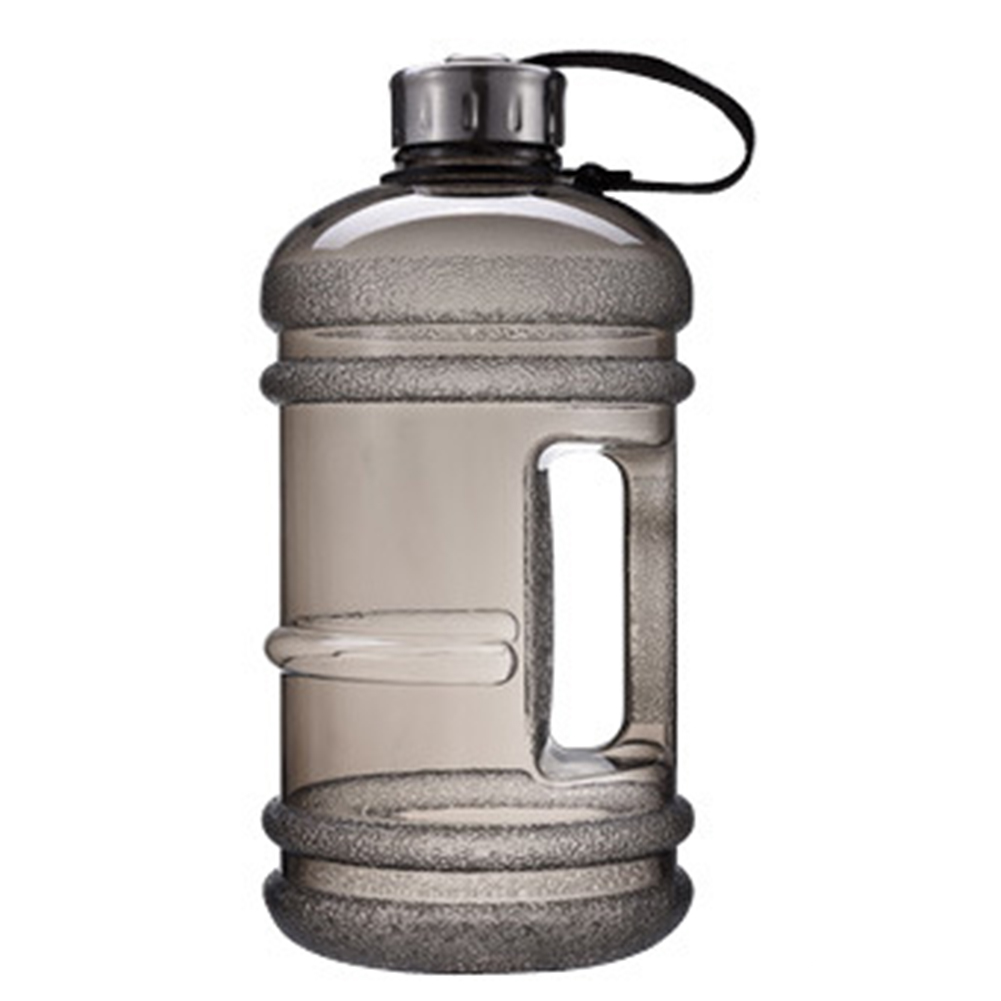 [EU Direct] 2.2L Large Capacity Handle Portable Water Bottles with Stainless Steel Cover for Outdoor Sports Gym Fitness Training Camping Running Black